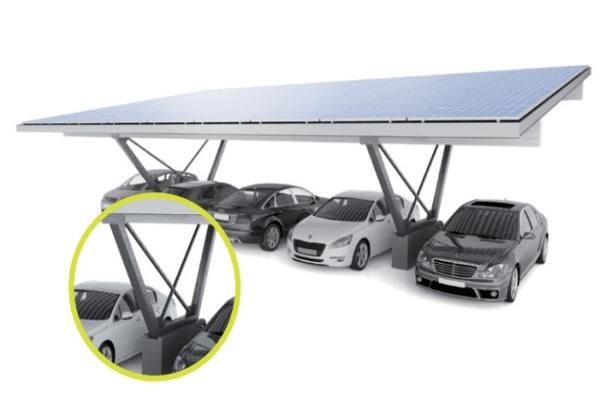 Napelem rendszer - előregyártott gépkocsibeálló